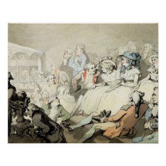 An Audience Watching a Play, c.1785 (pen and ink a Poster