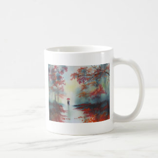 an autumn walk on a rainy day by Gordon Bruce Basic White Mug
