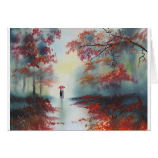 an autumn walk on a rainy day by Gordon Bruce Card