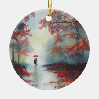 an autumn walk on a rainy day by Gordon Bruce Round Ceramic Decoration
