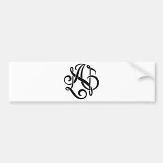 AN Black Monogram Bumper Sticker