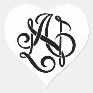 AN Black Monogram Heart Sticker