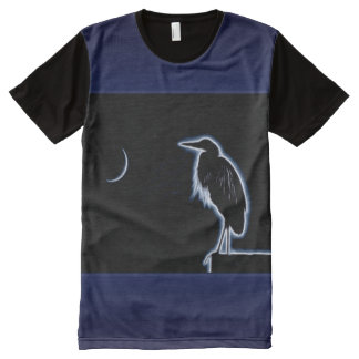 An Electric Blue Heron-Midnight Blue Background All-Over Print T-Shirt