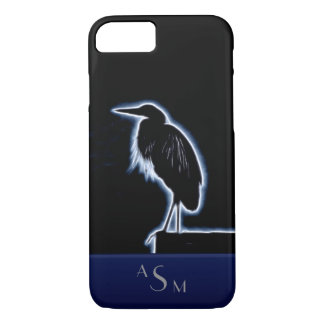 An Electric Blue Heron-Midnight Blue Background iPhone 8/7 Case