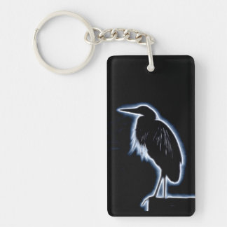 An Electric Blue Heron-Midnight Blue Background Key Ring