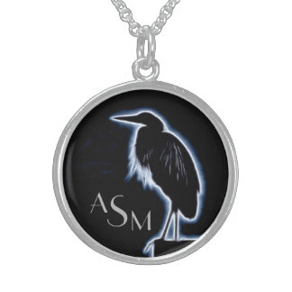 An Electric Blue Heron-Midnight Blue Background Sterling Silver Necklace