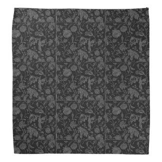 An Elegant Gothic vintage black floral pattern Bandana