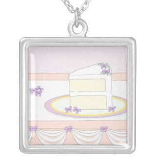 An Elegant Slice Of Wedding Cake Square Pendant Necklace