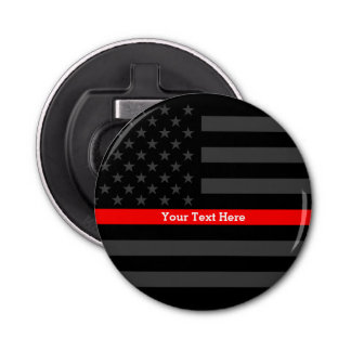 An Elegant Thin Red Line US Flag Personalized Bottle Opener