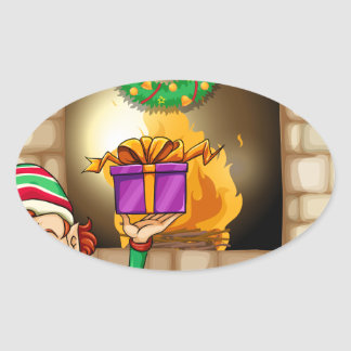 An elf in front of the fireplace oval sticker