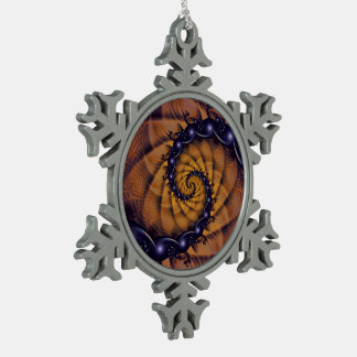An Emperor Scorpion's 1001 Fractal Spiral Stingers Snowflake Pewter Christmas Ornament