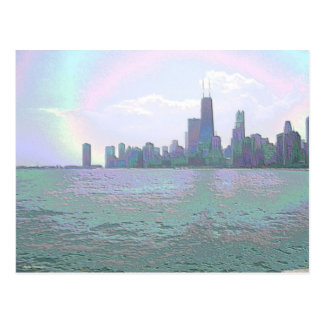 An Enamel View of the Chicago Skyline Postcard