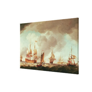 An English Vice-Admiral of  Red and his Canvas Print