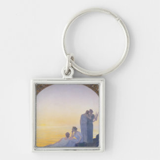 An Evening in Ancient Times, 1908 Silver-Colored Square Key Ring