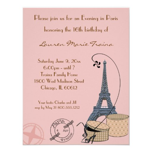 An Evening in Paris Beige Party Invitation