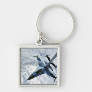 An F-16 Aggressor sits in contact position Silver-Colored Square Key Ring