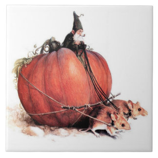 AN GNOME RIDING A PUMPKIN PULLED BY MICE LARGE SQUARE TILE