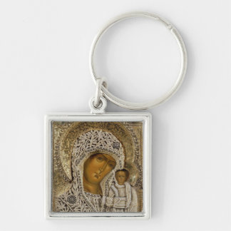 An icon showing the Virgin of Kazan Silver-Colored Square Key Ring