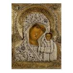 An icon showing the Virgin of Kazan Postcard