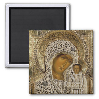 An icon showing the Virgin of Kazan Square Magnet