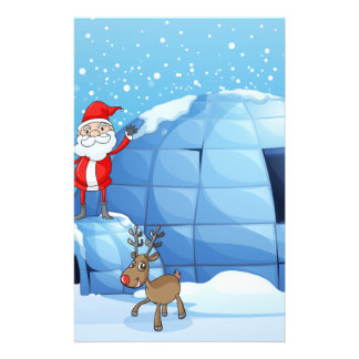 an igloo and a santa clause personalised stationery