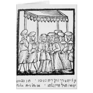 An illustration of a Jewish wedding Card