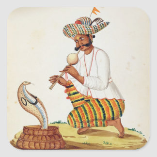 An Indian Snake Charmer with a Cobra, from a Frenc Square Stickers