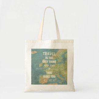 An inspiring travel quotes tote bag