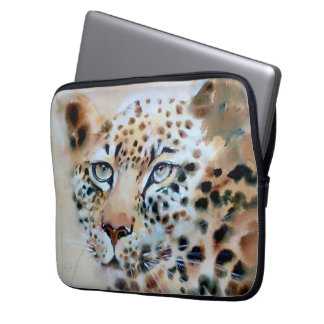"""An Intense Focus"" Leopard Print Laptop Sleeve"