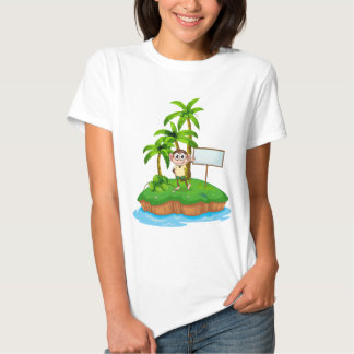 An island with a monkey and a signboard t-shirt