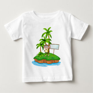 An island with a monkey and a signboard shirt