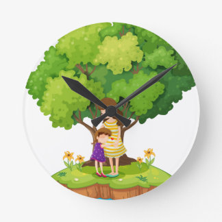 An island with a mother and a daughter wallclock