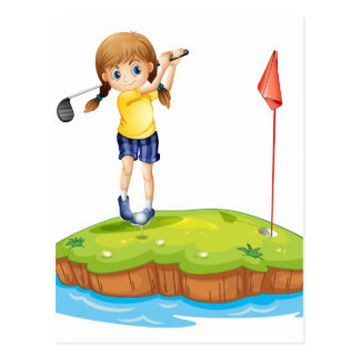 An island with a young girl playing golf postcard