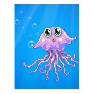 An octopus under the sea postcard