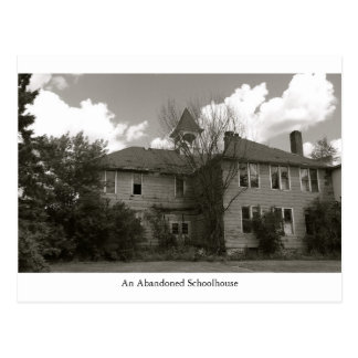An old abandoned schoolhouse building postcard