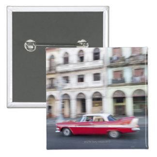 An old car cruising the streets of Havana, Cuba. 15 Cm Square Badge