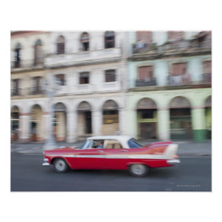 An old car cruising the streets of Havana, Cuba. Poster