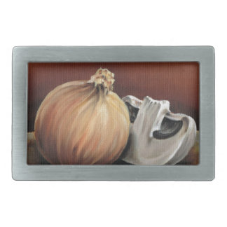 An onion and a mushroom belt buckles