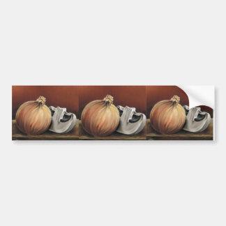An onion and a mushroom bumper sticker