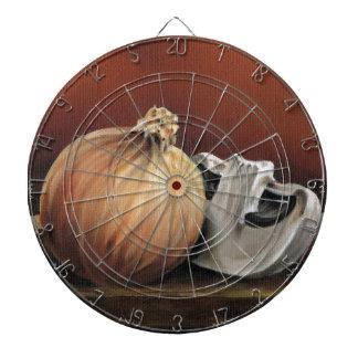 An onion and a mushroom dartboard