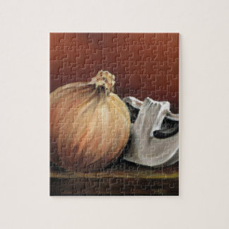 An onion and a mushroom jigsaw puzzle