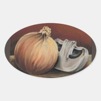 An onion and a mushroom oval sticker