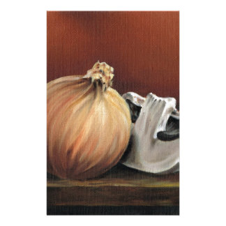An onion and a mushroom personalised stationery