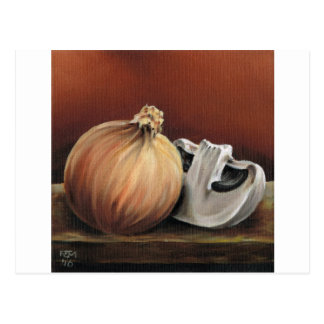 An onion and a mushroom postcard
