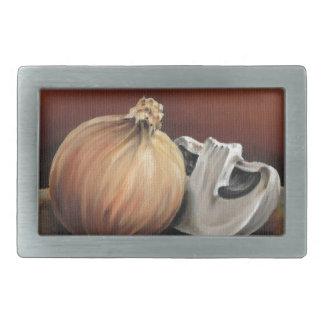 An onion and a mushroom rectangular belt buckle