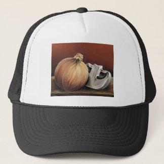 An onion and a mushroom trucker hat