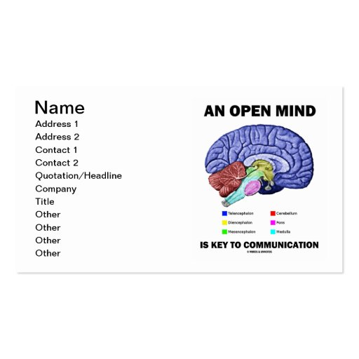 An Open Mind Is Key To Communication (Brain) Business Card Templates