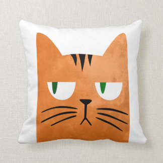 An orange cat with an attitude cushion
