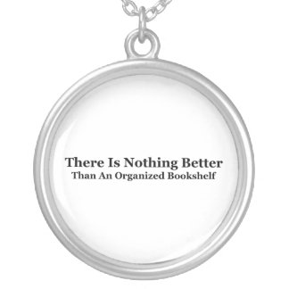 An Organized Bookshelf Silver Plated Necklace