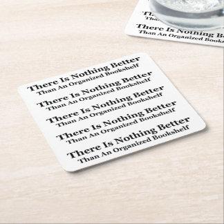 An Organized Bookshelf Square Paper Coaster